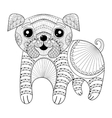 Zentangle Hand drawing Dog for antistress coloring vector image