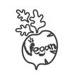 Vintage radish with lettering vegan vector image
