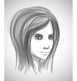 Beauty girl face Pencil sketch portrait imitation vector image