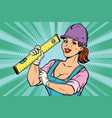 Construction worker with level woman professional vector image