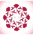 Ornamental round with red roses vector image