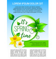 poster for spring time holiday greeting vector image