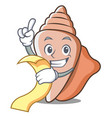 with menu cute shell character cartoon vector image