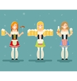 Oktoberfest Girls With Beer Icons Set Festival vector image vector image