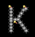 Abstract star K alphabet character vector image vector image