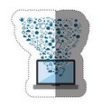 sticker color background with laptop and internet vector image