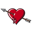 heart with arrow design vector image vector image