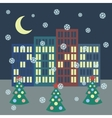 Winter city landscape with buildings Christmas vector image