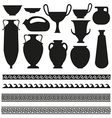 Ancient vase with greek geometric ornament for you vector image