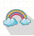 beautiful rainbow with nice clouds vector image