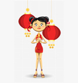 chinese girl new year vector image