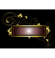 Gold frame decorated with golden curls beads vector image