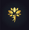 Happy man tree organic gold logo vector image
