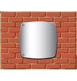 Metal shield on the brick wall vector image