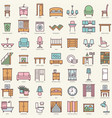 room furniture linear color icons set vector image