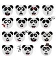 set of fun emoticon panda smileys isolated on vector image