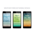 Template of weather forcast mobile aplication vector image