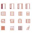 windows and doors set vector image