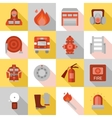 Fire Station Long Shadow Flat Icons vector image vector image
