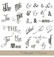 Calligraphic Ands and Thes - for design and scrap vector image