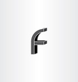 3d black letter f icon vector image