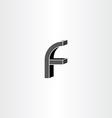 3d black letter f icon vector image