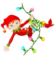 Christmas Elf on Garland vector image