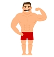Beautiful cartoon muscular man with mustache vector image