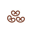 pretzel line icon wheat sign for production of vector image