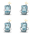 set phone character cartoon style collection vector image
