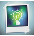 light bulb icon on polaroid frame - start u vector image vector image