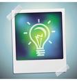 light bulb icon on polaroid frame - start u vector image