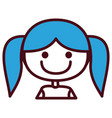 hand drawing silhouette half body girl with blue vector image