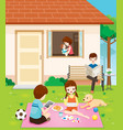 happy family relaxing with activity at home vector image