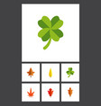 flat icon leaf set of alder aspen leafage and vector image