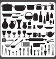 Kitchenware silhouettes set vector image