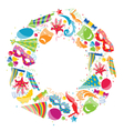 festive round frame with carnival colorful objects vector image