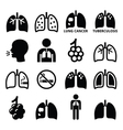 Lungs lung disease icons set vector image