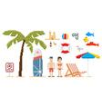 Pixel art style beach set vector image
