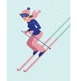 Young woman skiing vector image