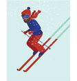Young man skiing vector image vector image