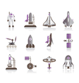 Astronaut space shuttle and spaceship vector image vector image