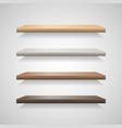 set of wood shelves on grey background vector image