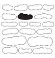 Cloud shapes set in black color vector image