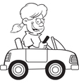 Cartoon girl driving a toy car vector image