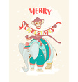 Funny Merry Christmas card with monkey riding an vector image