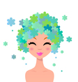 Beautiful woman with floral hairstyle vector image