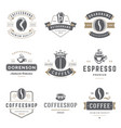 coffee shop logos templates set bean silhouette vector image