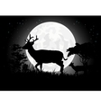 Deer silhouettes with giant moon background vector image