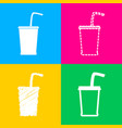 drink sign four styles of icon on vector image
